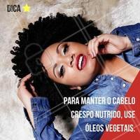 Os óleos vegetais são ideias para trazer brilho para o cabelo crespo que se encontra com aparência opaca. #ahazou #crespodopoder #cabelocrespo #crespo #instabeauty #curls #curly