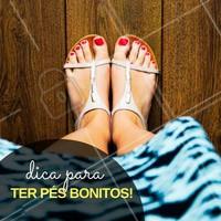 Pedicure em dia: pés bonitos estão sempre com as unhas bem feitas! Não esqueça de ficar sem esmalte pelo menos dois dias por mês, para evitar manchas esbranquiçadas nas unhas. #Dica #Pés #Feet #Beleza #Cuidados #Ahazou