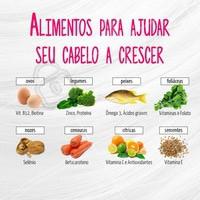 Confira alguns alimentos que ajudam a deixar o seu cabelo mais nutrido e favorecer o seu crescimento #dicasdecabelo #cabeleireiro #salãodebeleza