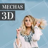 As mechas 3D são especificamente uma mistura de alguns tons no cabelo, deixando com um efeito efeito de profundidade e luminosidade nos fios. Estas mechas também ajudam a disfarçar manchas nos cabelos sem deixar de realçar o brilho dos fios. #mechas #3D #cabelo