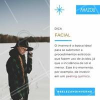 Afinal, o peeling químico,  elimina as células mortas da pele, deixando-a brilhante e com aspecto renovado.  #ahazou #belezanoinverno #beauty