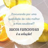 Sucos funcionais são uma ótima opção para incluir em uma dieta saudável e que promove a saúde do seu organismo. Que tal começar hoje?  #Ahazou #Nutrição #Sucos #BemEstar #Saúde #Alimentação