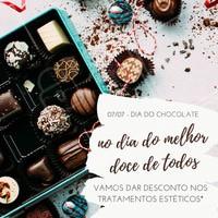 Aproveite o dia do chocolate para comer muitas doçuras sem culpa e  embarque nesse promoção! Agende com a gente um horários para dar aquela afinada! #chocolate #amo #estética  *promoção válida apenas para os tratamentos selecionados