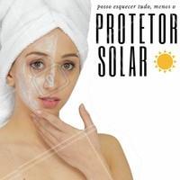 É importante sempre lembrar de se proteger do sol, mesmo quando não parece, seus raios continuam implacáveis. Por isso, antes de sair de casa: protetor, por favor! #protetorsolar #rosto #estéticafacial #proteção