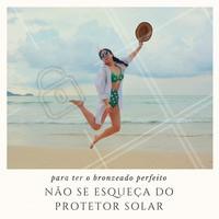 Para conquistar um bronze saudável, antes de mais nada, deve-se passar o protetor solar 30min antes de tomar sol. #estéticacorporal #bronzeado #protetorsolar #cuidados