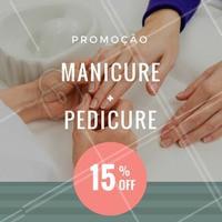 Agende já o seu horário para fazer as unhas com descontão! #Unha #Manicure #Promoção #Pedicure #Esmalte