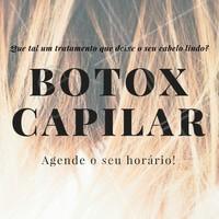 Está insatisfeita com os fios? Venha fazer o famoso botox capilar, seu cabelo nunca mais será o mesmo! Agende o seu horário!
