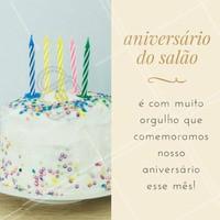 Estamos muito felizes em comemorar o aniversário do (NOME DO SALÃO) esse mês! Venha prestigiar esse dia especial conosco! #salaodebeleza #ahazou #beleza