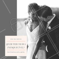 """Deixe o dia do """"sim"""" ainda mais especial, passe ele se embelezando com a gente e relaxe antes do grande momento! #diadanoiva #noiva #especial #beleza #casamento #especial #ahazou #amo"""
