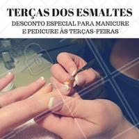 Todas as terças-feiras, manicure e pedicure possui desconto especial! Reserve agora o seu horário #Manicure #Esmaltes #Ahazou #Beleza #UnhasDecoradas #Autoestima #Beleza
