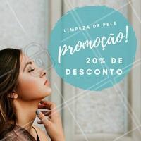 Aproveite! Estamos com 20% de desconto em limpeza de pele, pra sua pele ficar bem-cuidada e muito mais bonita pelo melhor preço! 💗 #desconto #limpezadepele #promocao #ahazou