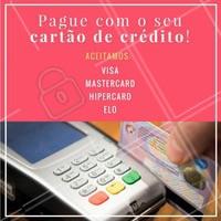Aqui no (inserir nome do salão/clínica) nós facilitamos sua vida! Aceitamos cartões de crédito de diversas bandeiras. Aproveite para fazer o seu pagamento do melhor jeito! 💳 #pagamento #beleza #ahazou