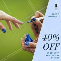 Vocês pediram unhas perfeitas e nós ouvimos! Marque suas unhas e na segunda manicure da semana, você tem 40% de desconto 😜   #promoção #desconto #ahazou #amo #felicidade #unha #unhas #perfeito #promounhas