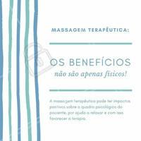 Muito além dos benefícios físicos, que são o principal foco do tratamento, a massagem terapêutica também tem impactos positivos sobre o psicológico por ajudar no relaxamento do paciente. A massagem terapêutica também ajuda o paciente a ganhar mais confiança, alivia a depressão grave e pode ser recomendada até mesmo por psicoterapeutas para ajudar nos tratamentos terapêuticos. #massagemterapeutica #massagem #tratamento #cuidados #saúde #massoterapeuta