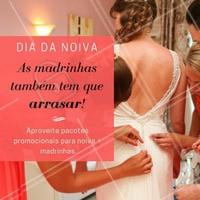 O que seria da noiva sem suas queridas madrinhas? 💗 Quer que todo mundo fique lindo no grande dia? Aproveite já nossos pacotes especiais para grupos de madrinhas e agende seu horário! #madrinha #noiva2018 #noiva #ahazou #casamento