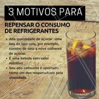 Dispense os refrigerantes. Dê preferência a bebidas mais naturais, como sucos de frutas e águas de coco #nutrição #alimentosaudável #ahazou #saude #beleza #bemestar #autoestima #refrigerante  #açucar #obesidade