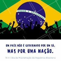 Vamos nos juntar e transformar o nosso país na pátria que sempre sonhamos! Vamos juntos, com força, garra e orgulho de ser brasileiro 💛💚  Feliz Dia da Proclamação da República 🇧🇷  #proclamaçãodarepública #15novembro #brasil #brasileiro #ahazou #soubrasileirocommuitoorgulho #patriaamada #liberdade #amo