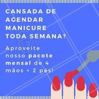 Agendar a unha toda semana cansa, não é? Que tal adquirir nosso pacote mensal de 4 mãos + 2 pés pra viver de unha feita? 😉 #manicure #pedicure #promocao #ahazou