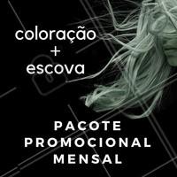 Você retoca a tintura e escova do seu cabelo todo mês? Então facilite sua vida! Com nosso pacote promocional mensal, você adquire tudo de uma vez 😎 #cabelo #ahazou #tintura #promocao