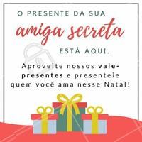 Ainda não comprou o presente de Natal da sua amiga secreta? Corre que estamos com vários vale-presentes de beleza para você deixar sua amiga ainda mais linda nesse Natal! 🎁 #valepresente #natal #ahazou #presentenatal