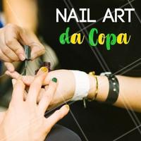 Que tal decorar sua unha com uma nail art da Copa? 💛💚 Agende seu horário e torça com estilo! #copa #ahazou #unha #esmalte #nailart #futebol #ahazounacopa