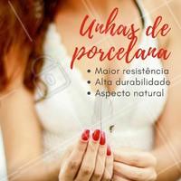 Olha só os benefícios das unhas de porcelana! Venha já fazer a sua e ficar com unhas maravilhosas 💅 #unha #ahazou #manicure #unhadeporcelana #esmalteria
