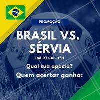 Sugestão de legenda: Os X primeiros que acertarem a pontuação do jogo Brasil vs. Sérvia ganha (escrever aqui os serviços que você irá premiar)! Vamos jogar? ️⚽️ Comente aqui sua aposta! 😉 #brasil #ahazou #copa #jogodobrasil #ahazounacopa