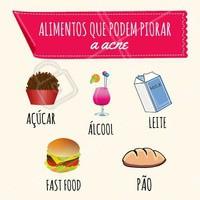 Problemas com acne? 😪 Esses alimentos, se consumidos em excesso, podem influenciar na piora da acne! Aposte sempre numa alimentação saudável, que refletirá no seu bem-estar e no da sua pele também. ;) #esteticafacial #ahazou #estetica #cuidadoscomapele #acne