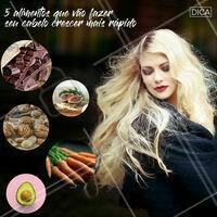 Pega o bloco de notas e anota as dicas do dia:  Abacates Os abacates são uma grande fonte de antioxidantes e são ricos em vitaminas E e B, que fortalecem os cabelos e ajudam a prevenir danos causados por processos agressivos. Algumas formas de prepará-los são em uma salada, amassadinho em uma torrada no café da manhã, ou até mesmo em uma máscara de cabelos.  Cenouras As cenouras têm vitaminas vitais, como C e E, que estimulam o crescimento dos fios e engrossam o cabelo quando ingeridas diariamente. Para facilitar o crescimento, um caminho muito bom é tomar um copo (mais ou menos 85g) de suco de cenoura fresco por dia. Você pode até mesmo fazer uma vitamina, adicionando beterrabas, maçãs e gengibre.  Nozes Não só são uma ótima opção de lanche para levar para o trabalho ou faculdade, as nozes também são cheias de ômega-3, biotina, proteína, cobre e vitamina E. Todos esses componentes são essenciais para conseguir fios brilhantes, e ao mesmo tempo protegem seus cabelos dos raios solares severos.  Chocolate amargo O chocolate amargo tem minerais vitais para o fortalecimento dos cabelos, que incluem zinco, cobre e ferro. A mistura desses elementos ajuda a trazer o fluxo de sangue para o seu couro cabeludo e promove o crescimento (com moderação, claro).  Folhas de goiaba Para conseguir extrair os benefícios das folhas, é necessário fervê-las. Elas são ricas em vitamina C, que ajuda na produção de colágeno. Depois de levantar fervura, espere a água esfriar e use em seu cabelo como tratamento. Esse segredinho ajuda a prevenir a queda dos cabelos e ainda fortalece os fios. #dica #ahazou #ahazoucabelos #anotaai