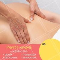 Olha só este pacote especial que separei para você! Aproveite, agende seu horário e venha fazer uma massagem!  #pacotemassagem #massagem #promocional #ahazoumassagem #massoterapia #massagemdetox #drenagem