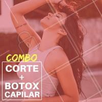 Olha só esse combo especial que separei para você! Agende seu horário e saia do salão divando! 😍  #promocional #botoxcapilar #corte #ahazou #cabelo
