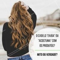 É verdade que o cabelo acostuma com o produto, mas ele não enjoa de você! Rs. Os produtos de cabelo possuem uma combinação de ingredientes que vão suprir as necessidades específicas do cabelo naquele momento. Porém essas necessidades não são fixas, elas vão mudando. Quando usamos os mesmos produtos por muito tempo, o cabelo sente falta de outros ingredientes ativos, por isso sentimos que em determinado momento, nossos cabelos não respondem aos tratamentos da maneira que esperávamos.   #cabelos #cuidadoscomocabelo #ahazou #hair