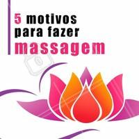 1. Reduz estresse. 2. Ajuda a relaxar o corpo e a mente também.  3. Melhora a qualidade do sono.  4. Ajuda o funcionamento dos intestinos.  5. Diminui a ansiedade.  Tem coisa melhor que massagem? #massagem #ahazou #massoterapia