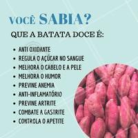 Você já conhecia os benefícios da batata doce? 😱 Olha só quanta coisa legal! #batatadoce #ahazou #nutriçao #alimentaçao #saude