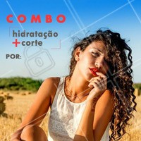 Venha cuidar dos cabelos. Marque o seu horário. #promocao #ahazou #combo #corte #hidratacao #mulher