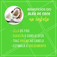 Com certeza você já ouviu sobre o uso do óleo de coco no cabelo, não é? Olha só os benefícios que ele pode trazer! Mas importante: o óleo deve ser vegetal e 100% puro. #oleodecoco #ahazou #cuidadoscomocabelo #cabelo #cabeleireiro