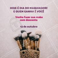 Aproveite o desconto para ficar mara para o sabadão. #diacomemorativo #ahazou #maquiador #diadomaquiador #make #promocao