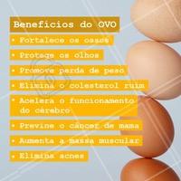 São muitos benefícios que o ovo tem. Inclua em sua alimentação, mas não exagere pois ele é rico em colesterol! #ovos #ahazou #dieta #alimentacao #saude #alimentacaoahazou #food