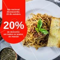 Hoje é o dia nacional do macarrão. E para comemorar, todos os nossos pratos de massa estão com 20% de desconto. Somente hoje! #macarraoahz #massa #ahazou #pasta #diadomacarrao #desconto #promocao