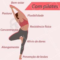 Você sabia que o pilates poderia te proporcionar todos esses benefícios? Se você ainda não conhece, venha se apaixonar. #pilates #ahazou #fisioterapia #exercicios #saude #bemestar