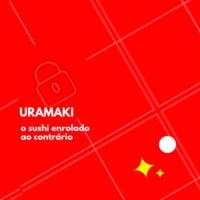 URAMAKI é aquele que o arroz vai por fora da alga nori, e o recheio enrolado por dentro. Ele é conhecido pelas sementes de gergelim torradas junto com o arroz. Vocês gostam? #sushi #uramaki #ahazou #comidajaponesa #gastronomia