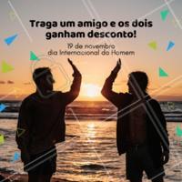 Parabéns, Brô! Traga um amigo, e vocês dois ganham desconto para barba e cabelo. #barba #corte #ahazoubarbearia #homens #mens #diadohomem #desconto #promocao