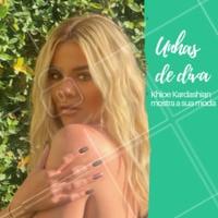 Ela é inspiração quando se fala em beleza. A celebridade americana Khloe Kardashian cultiva suas unhas sempre longas, e adora usar cores diferentes. Como a filha única de outra cor na foto. O que você acha do estilo? Comenta aqui! #unhas #ahazou #manicure #tendencia #internacional #unhas #ahazoumanicure