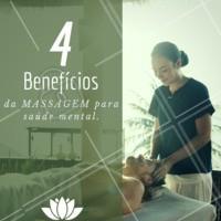 1) Afasta preocupações 2) Estimula os sentimentos positivos 3) Relaxa a mente e alivia o estresse 4) Melhora a autoestima  #massoterapia #ahazoumassagem #massagem