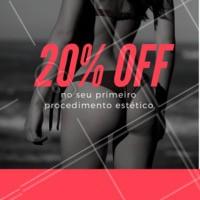 Em seu primeiro procedimento estético com a gente, você ganha 20 % de desconto. Não perca! Agende já o seu horário 💜 #promoção #beleza #estética #ahazou #ahazouestética