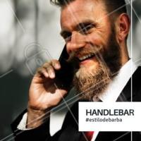 """Barba com inspiração retrô, batizado de handlebar (guidão em inglês, fazendo referência às curvas), também tem o apelido de """"bigode espaguete"""", o bigode traz os fios mais longos e com as pontas enroladas. ✂ #homens #ahazoubarbearia #barba #handlebar #estilomasculino"""