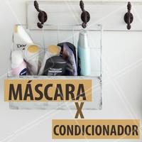 Você sempre quis saber qual a diferença entre a máscara e o condicionador? Atenção nessa dica: A máscara tem funções de tratamento, ou seja, esse produto pode ser com finalidade de hidratação, nutrição, reconstrução etc. Já o condicionador serve para selar as cutículas e condicionar os fios, facilitando na hora de pentear. Ah, não se equeça: a máscara sempre vem antes do condicionador. #mascaracapilar #ahazou #condicionador #cabelo #cuidadoscomocabelo