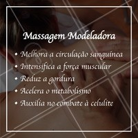 Olha só os benefícios da massagem modeladora! Esse tratamento incrível é capaz de reduzir medidas e ainda auxiliar em diversos fatores. Aproveite e agende seu horário! #massagemmodeladora #ahazou #massagem #massoterapia