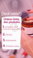Essa é a ordem correta de aplicar os produtos na rotina! Comenta aqui se você faz certinho. #esteticafacial #ahazou #estetica #cuidadoscomapele