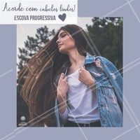 Aposte na escova progressiva e acorde com cabelos sempre lindos! 💇 #cabelo #progressiva #ahazoucabelo #escovaprogressiva
